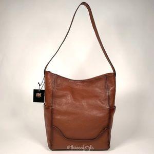 Frye Leather Side Pocket Hobo Bag in Cognac